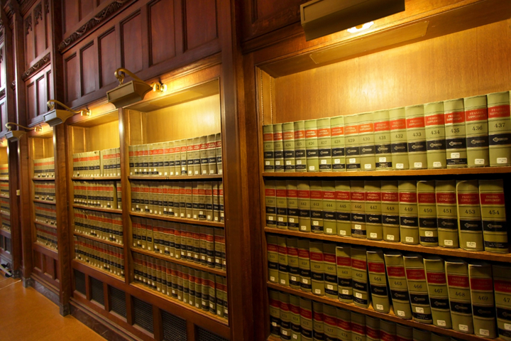 Law books in the shelf's of library